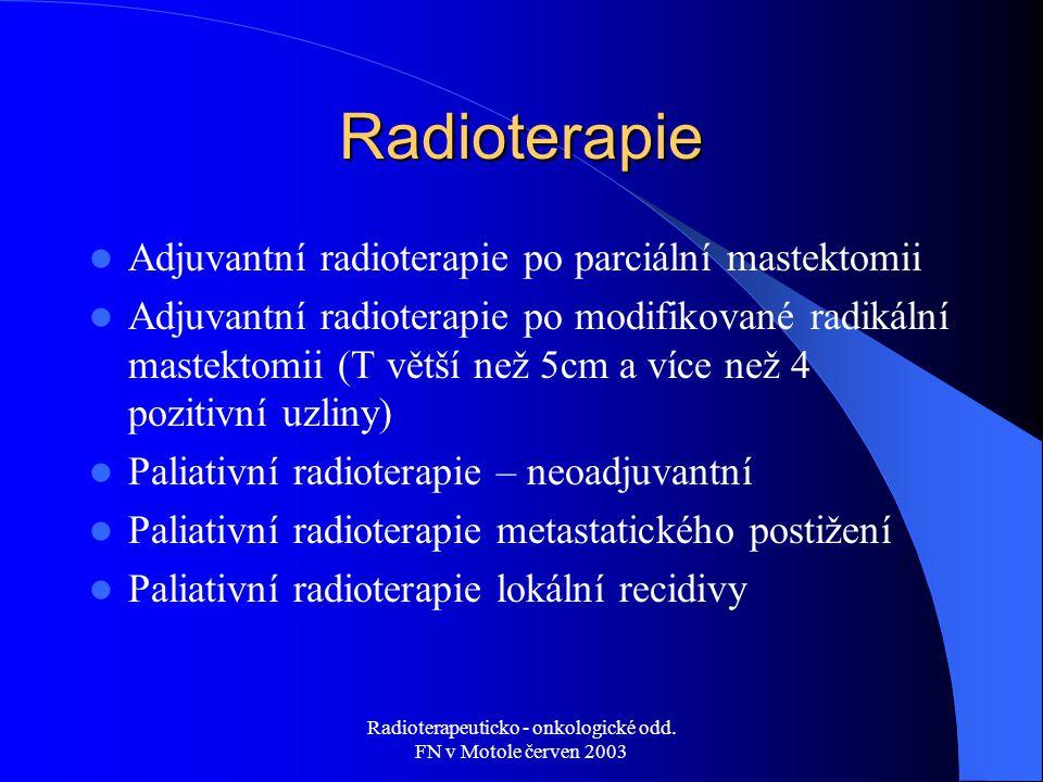 Radioterapeuticko - onkologické odd. FN v Motole červen 2003 Radioterapie Adjuvantní radioterapie po parciální mastektomii Adjuvantní radioterapie po