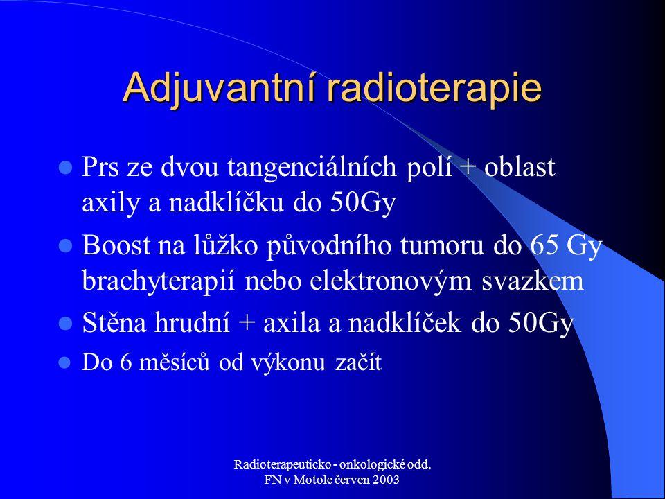 Radioterapeuticko - onkologické odd. FN v Motole červen 2003 Adjuvantní radioterapie Prs ze dvou tangenciálních polí + oblast axily a nadklíčku do 50G