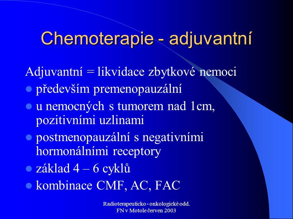 Radioterapeuticko - onkologické odd. FN v Motole červen 2003 Chemoterapie - adjuvantní Adjuvantní = likvidace zbytkové nemoci především premenopauzáln