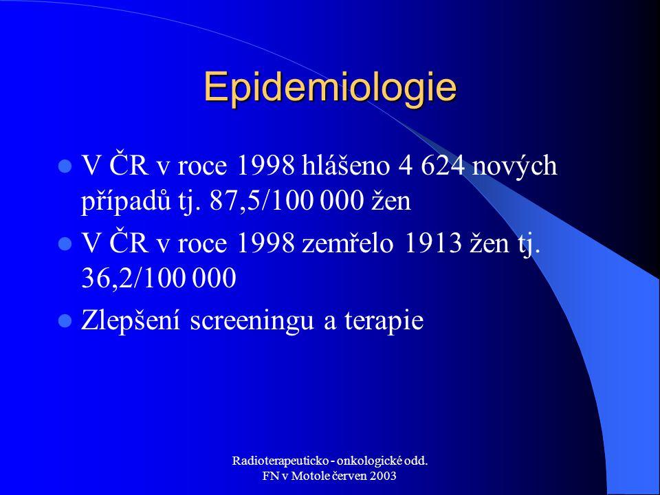 Radioterapeuticko - onkologické odd. FN v Motole červen 2003 Epidemiologie V ČR v roce 1998 hlášeno 4 624 nových případů tj. 87,5/100 000 žen V ČR v r
