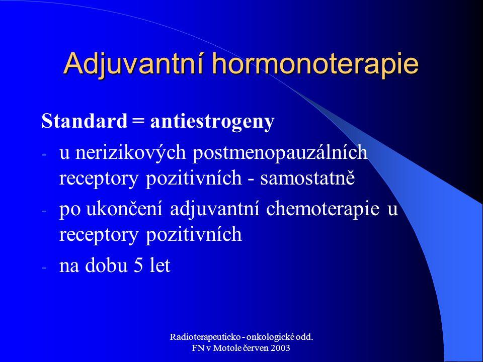 Radioterapeuticko - onkologické odd. FN v Motole červen 2003 Adjuvantní hormonoterapie Standard = antiestrogeny - u nerizikových postmenopauzálních re