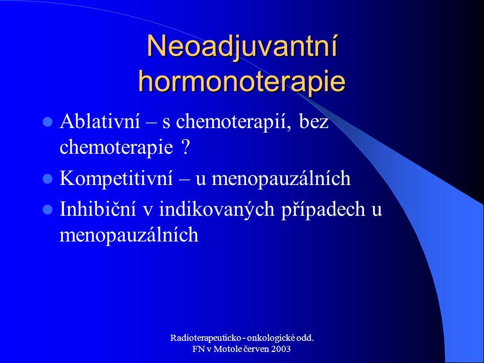 Radioterapeuticko - onkologické odd. FN v Motole červen 2003 Neoadjuvantní hormonoterapie Ablativní – s chemoterapií, bez chemoterapie ? Kompetitivní