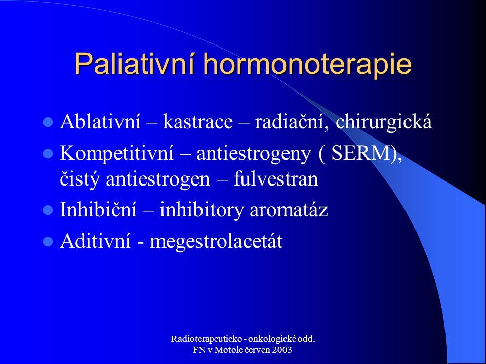 Radioterapeuticko - onkologické odd. FN v Motole červen 2003 Paliativní hormonoterapie Ablativní – kastrace – radiační, chirurgická Kompetitivní – ant
