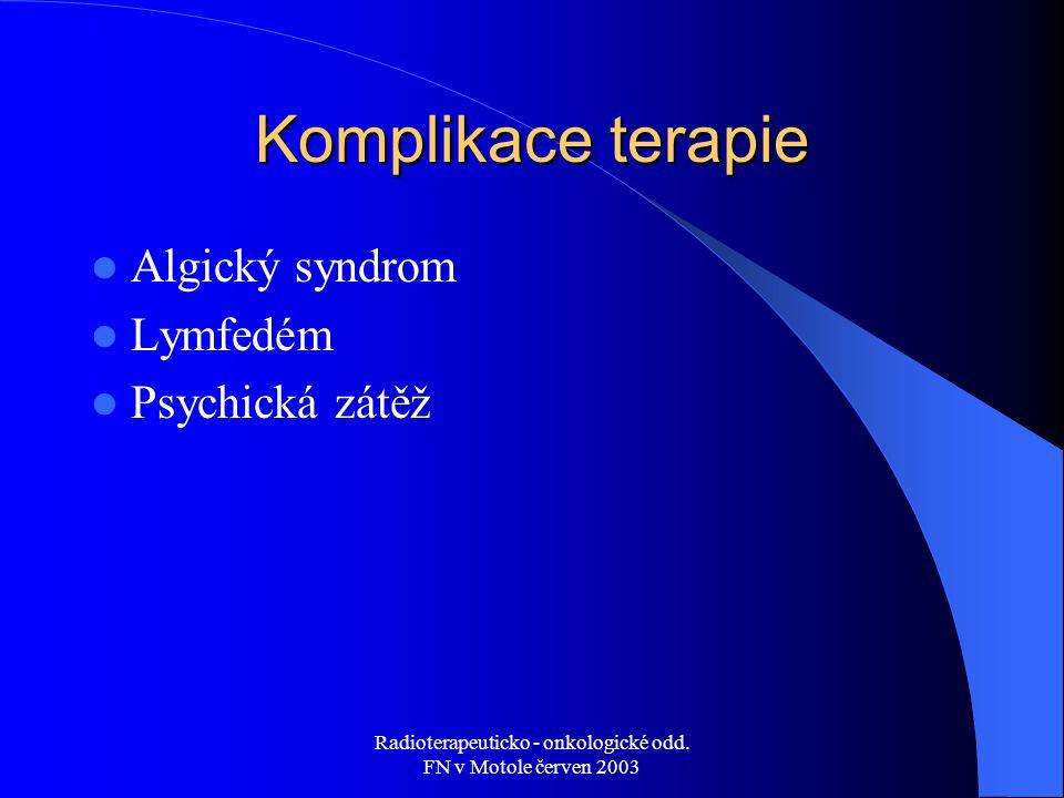 Radioterapeuticko - onkologické odd. FN v Motole červen 2003 Komplikace terapie Algický syndrom Lymfedém Psychická zátěž