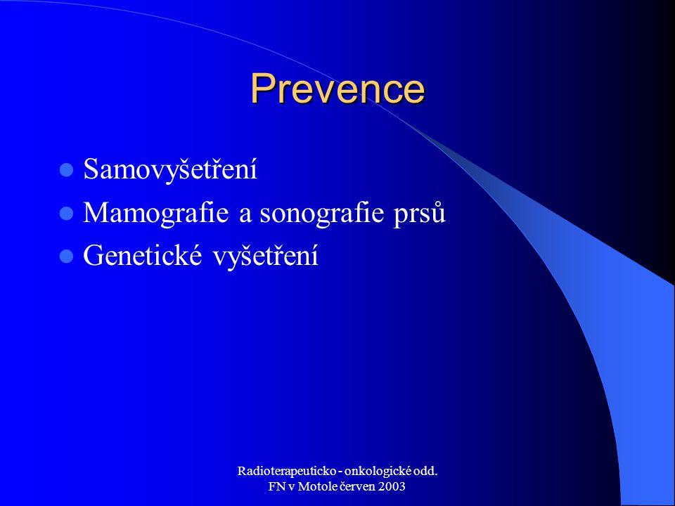 Radioterapeuticko - onkologické odd. FN v Motole červen 2003 Prevence Samovyšetření Mamografie a sonografie prsů Genetické vyšetření