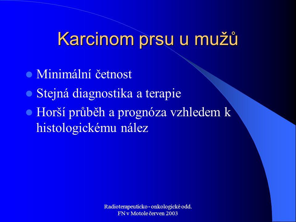 Radioterapeuticko - onkologické odd. FN v Motole červen 2003 Karcinom prsu u mužů Minimální četnost Stejná diagnostika a terapie Horší průběh a prognó
