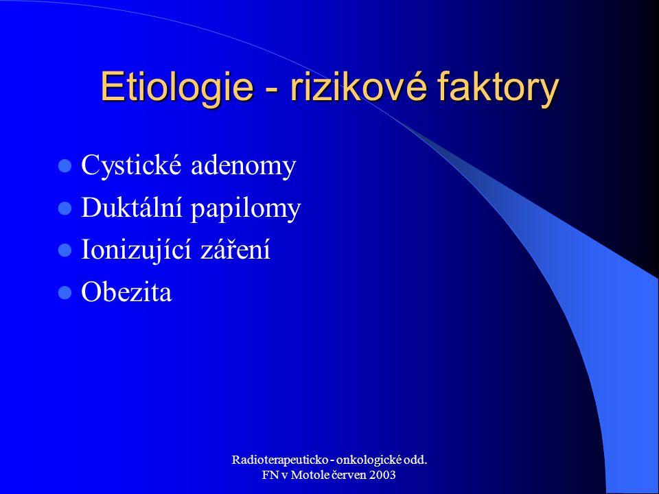 Radioterapeuticko - onkologické odd. FN v Motole červen 2003 Etiologie - rizikové faktory Cystické adenomy Duktální papilomy Ionizující záření Obezita