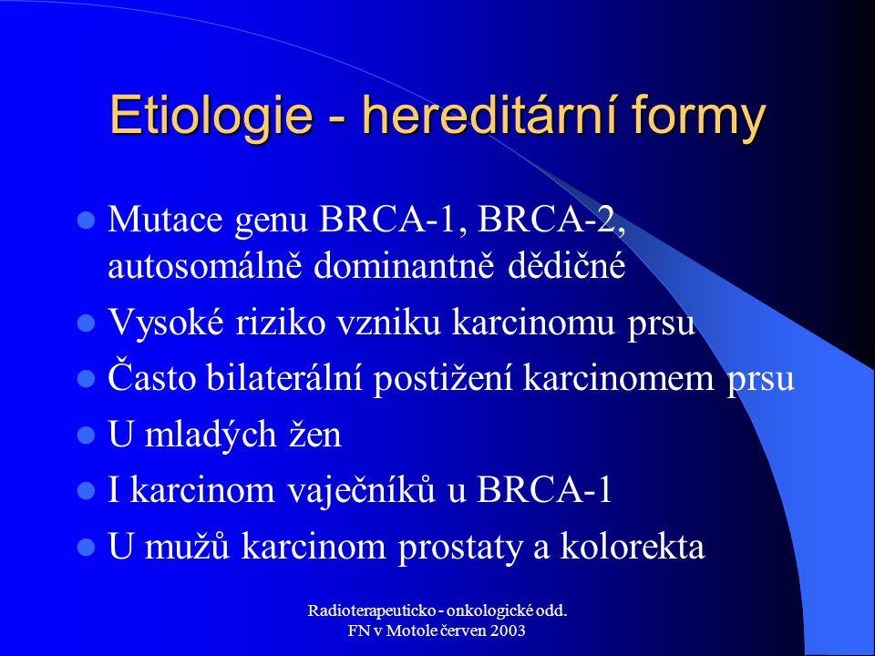 Radioterapeuticko - onkologické odd. FN v Motole červen 2003 Etiologie - hereditární formy Mutace genu BRCA-1, BRCA-2, autosomálně dominantně dědičné