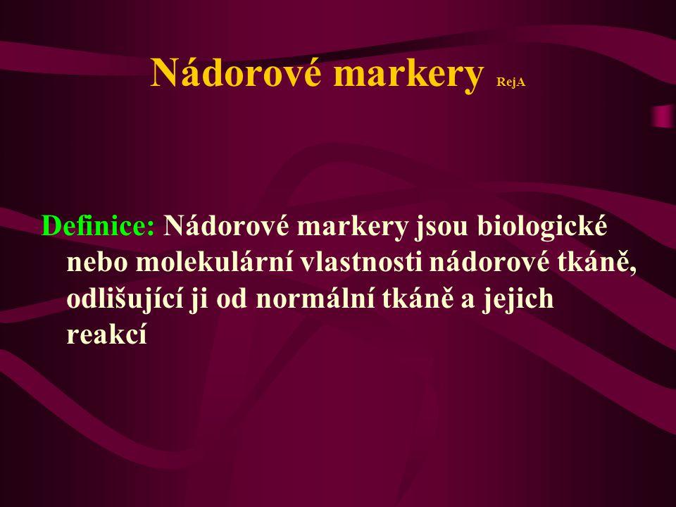 Nádorové markery RejA Definice: Nádorové markery jsou biologické nebo molekulární vlastnosti nádorové tkáně, odlišující ji od normální tkáně a jejich