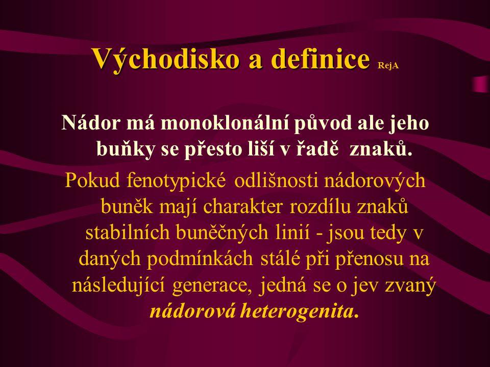 Východisko a definice Východisko a definice RejA Nádor má monoklonální původ ale jeho buňky se přesto liší v řadě znaků. Pokud fenotypické odlišnosti
