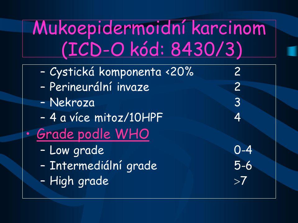 Mukoepidermoidní karcinom (ICD-O kód: 8430/3) –Cystická komponenta <20%2 –Perineurální invaze2 –Nekroza3 –4 a více mitoz/10HPF4 Grade podle WHO –Low grade0-4 –Intermediální grade5-6 –High grade  7