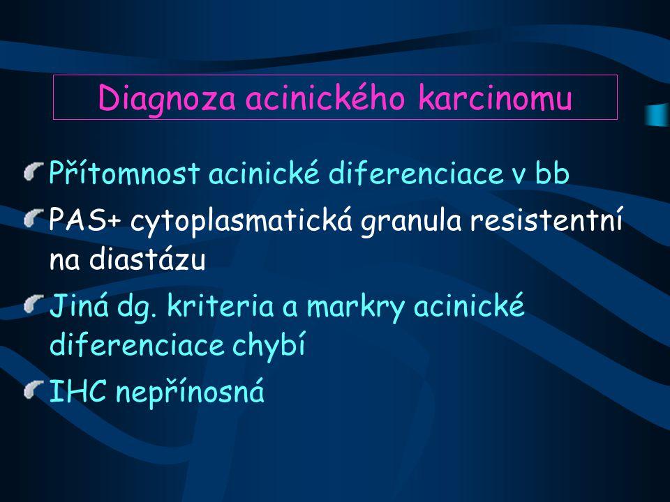 Diagnoza acinického karcinomu Přítomnost acinické diferenciace v bb PAS+ cytoplasmatická granula resistentní na diastázu Jiná dg.