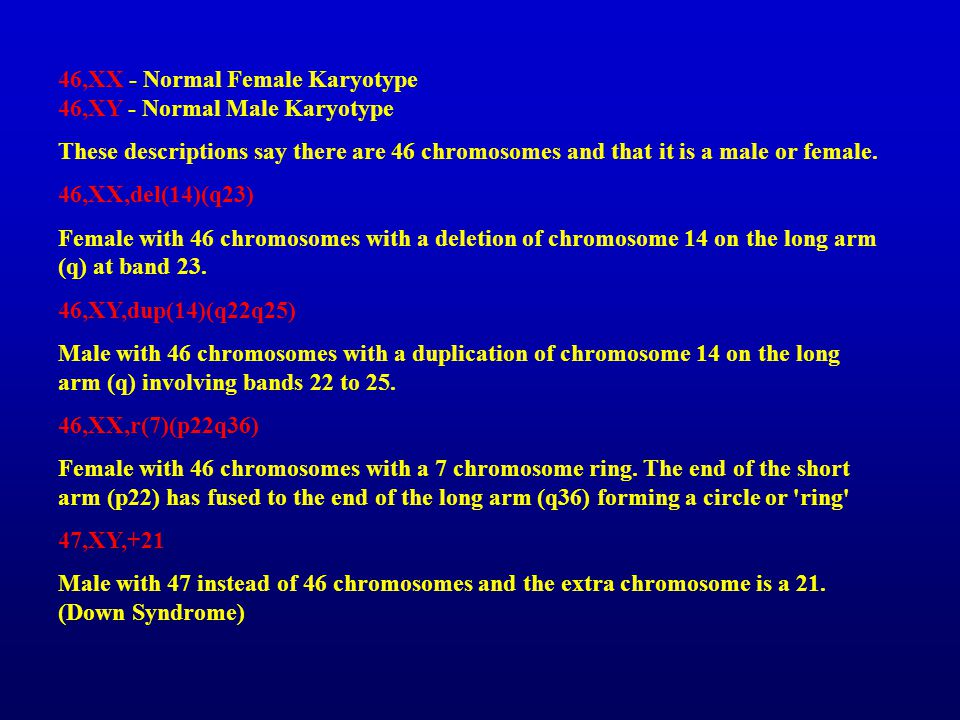 46,XX - Normal Female Karyotype 46,XY - Normal Male Karyotype These descriptions say there are 46 chromosomes and that it is a male or female. 46,XX,d