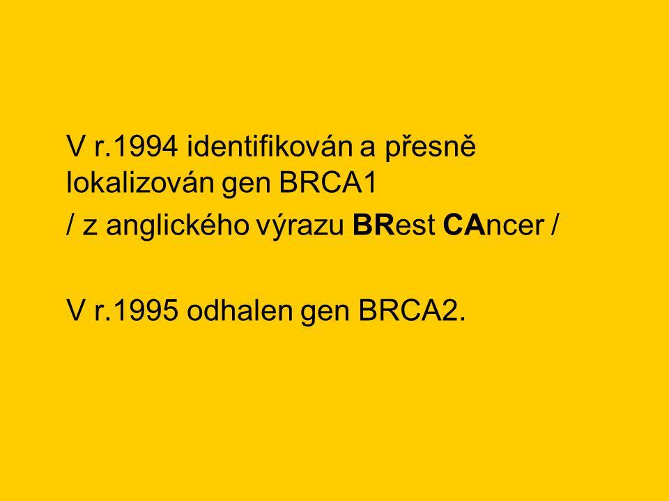 V r.1994 identifikován a přesně lokalizován gen BRCA1 / z anglického výrazu BRest CAncer / V r.1995 odhalen gen BRCA2.