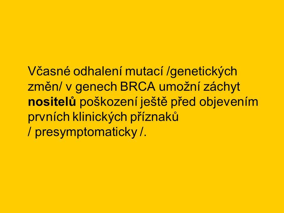Včasné odhalení mutací /genetických změn/ v genech BRCA umožní záchyt nositelů poškození ještě před objevením prvních klinických příznaků / presymptom