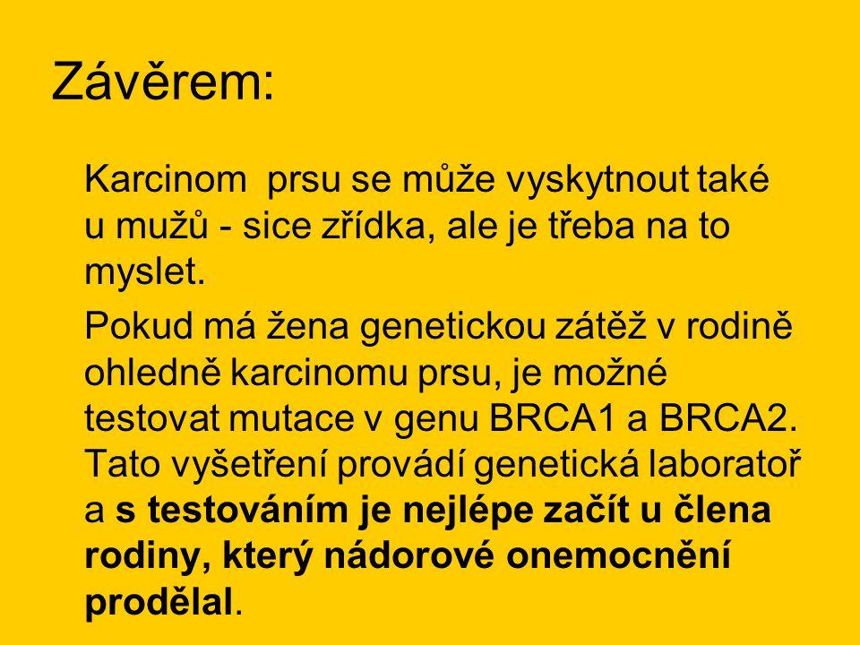 Závěrem: Karcinom prsu se může vyskytnout také u mužů - sice zřídka, ale je třeba na to myslet. Pokud má žena genetickou zátěž v rodině ohledně karcin