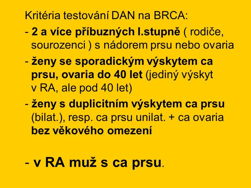 Kritéria testování DAN na BRCA: - 2 a více příbuzných I.stupně ( rodiče, sourozenci ) s nádorem prsu nebo ovaria - ženy se sporadickým výskytem ca prs