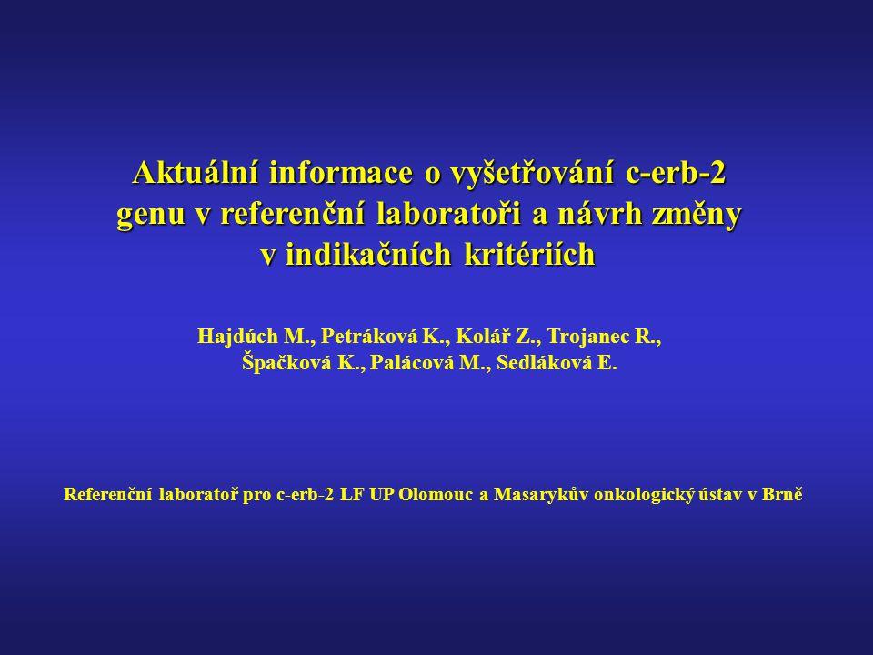 Aktuální informace o vyšetřování c-erb-2 genu v referenční laboratoři a návrh změny v indikačních kritériích Hajdúch M., Petráková K., Kolář Z., Trojanec R., Špačková K., Palácová M., Sedláková E.
