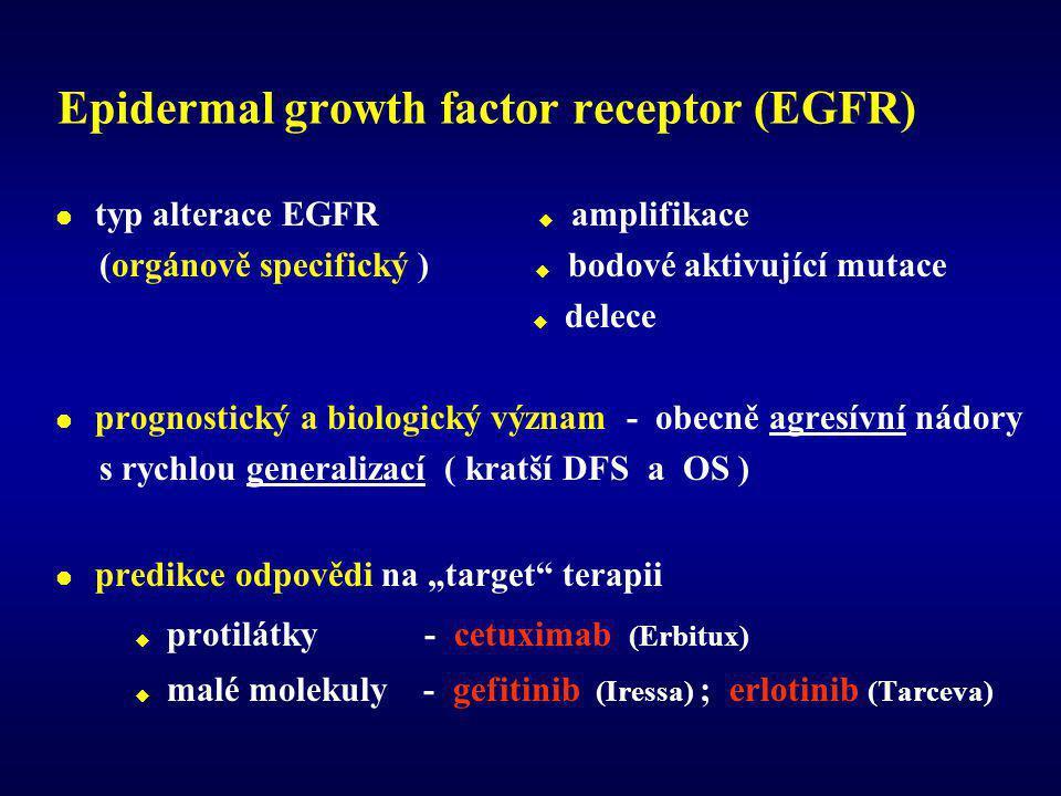 """Epidermal growth factor receptor (EGFR)  typ alterace EGFR  amplifikace (orgánově specifický )  bodové aktivující mutace  delece  prognostický a biologický význam - obecně agresívní nádory s rychlou generalizací ( kratší DFS a OS )  predikce odpovědi na """"target terapii  protilátky - cetuximab (Erbitux)  malé molekuly - gefitinib (Iressa) ; erlotinib (Tarceva)"""