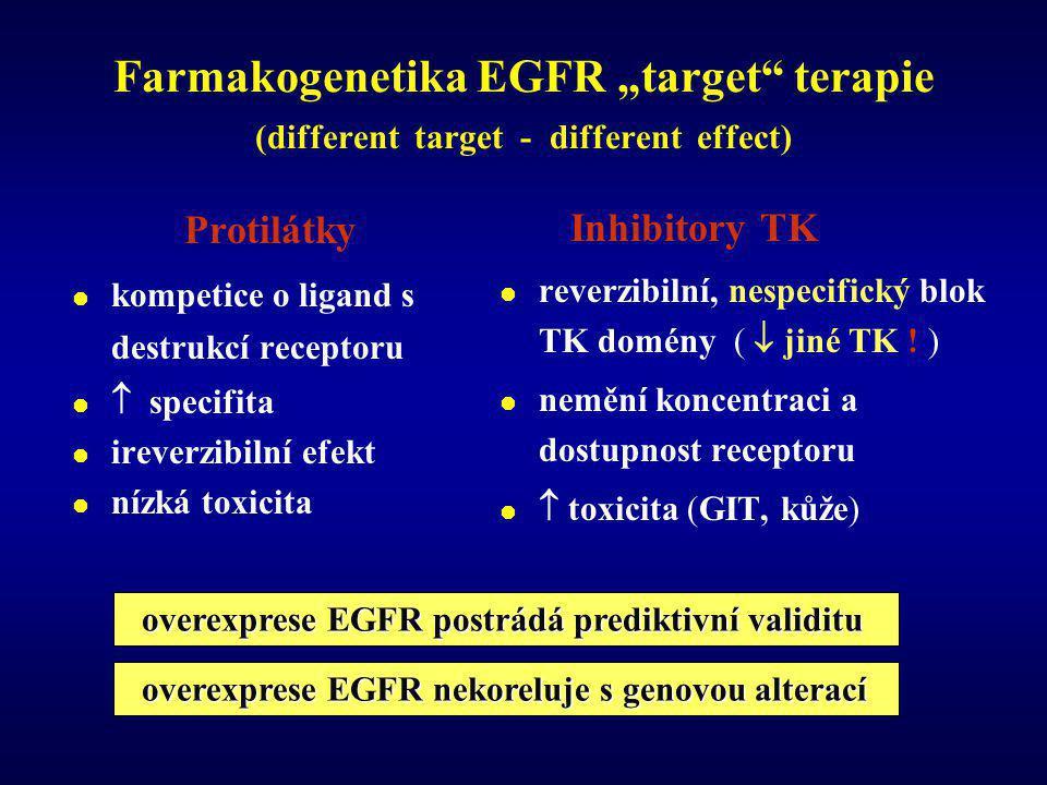 Protilátky  kompetice o ligand s destrukcí receptoru   specifita  ireverzibilní efekt  nízká toxicita Inhibitory TK  reverzibilní, nespecifický blok TK domény (  jiné TK .