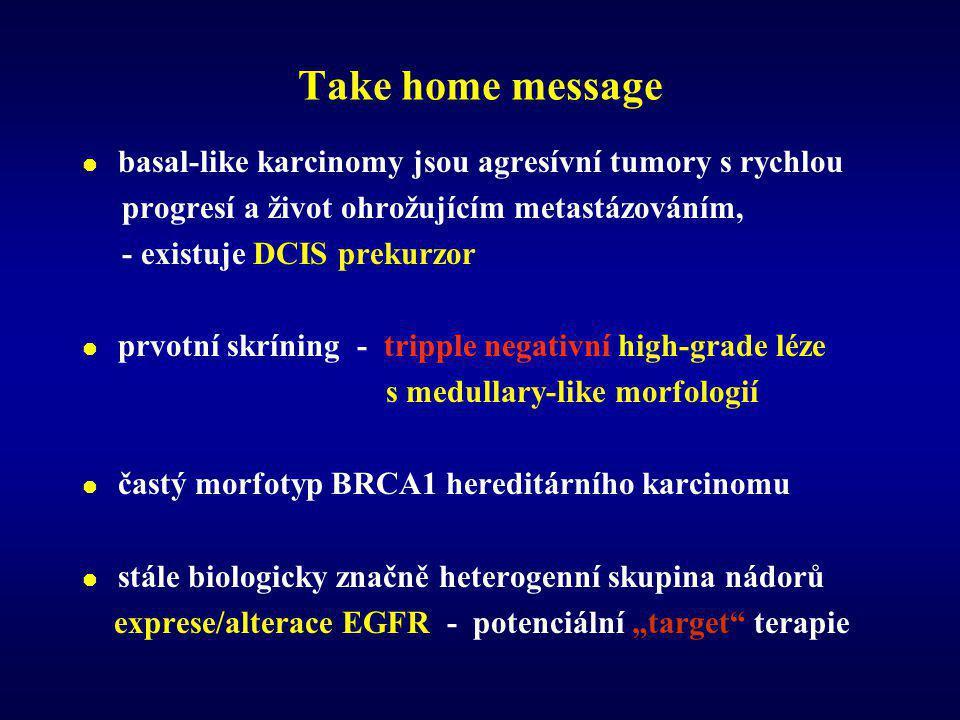 """Take home message  basal-like karcinomy jsou agresívní tumory s rychlou progresí a život ohrožujícím metastázováním, - existuje DCIS prekurzor  prvotní skríning - tripple negativní high-grade léze s medullary-like morfologií  častý morfotyp BRCA1 hereditárního karcinomu  stále biologicky značně heterogenní skupina nádorů exprese/alterace EGFR - potenciální """"target terapie"""