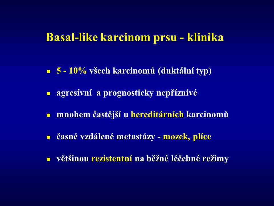 "Basal-like karcinom prsu - histologie  high-grade duktální karcinomy (NOS) - 90%  metaplastické/skvamózní a medulární karcinomy  ER, PR, Her2/neu - negativní ( ""3N tumory )  exprese HMW CK ( 5/6, 14 ), p53, EGFR, vim, c-kit  in situ složka ""komedo typu má obdobný fenotyp ."