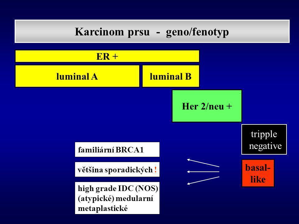 Karcinom prsu - geno/fenotyp luminal A Her 2/neu + tripple negative basal- like luminal B ER + familiární BRCA1 většina sporadických .