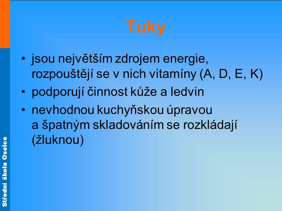Střední škola Oselce Tuky jsou největším zdrojem energie, rozpouštějí se v nich vitamíny (A, D, E, K) podporují činnost kůže a ledvin nevhodnou kuchyň