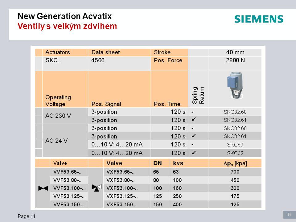 11 Page 11 New Generation Acvatix Ventily s velkým zdvihem