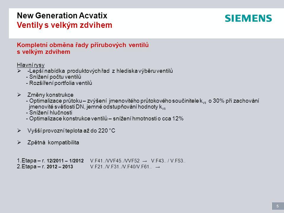 6 Page 6 New Generation Acvatix Ventily s velkým zdvihem