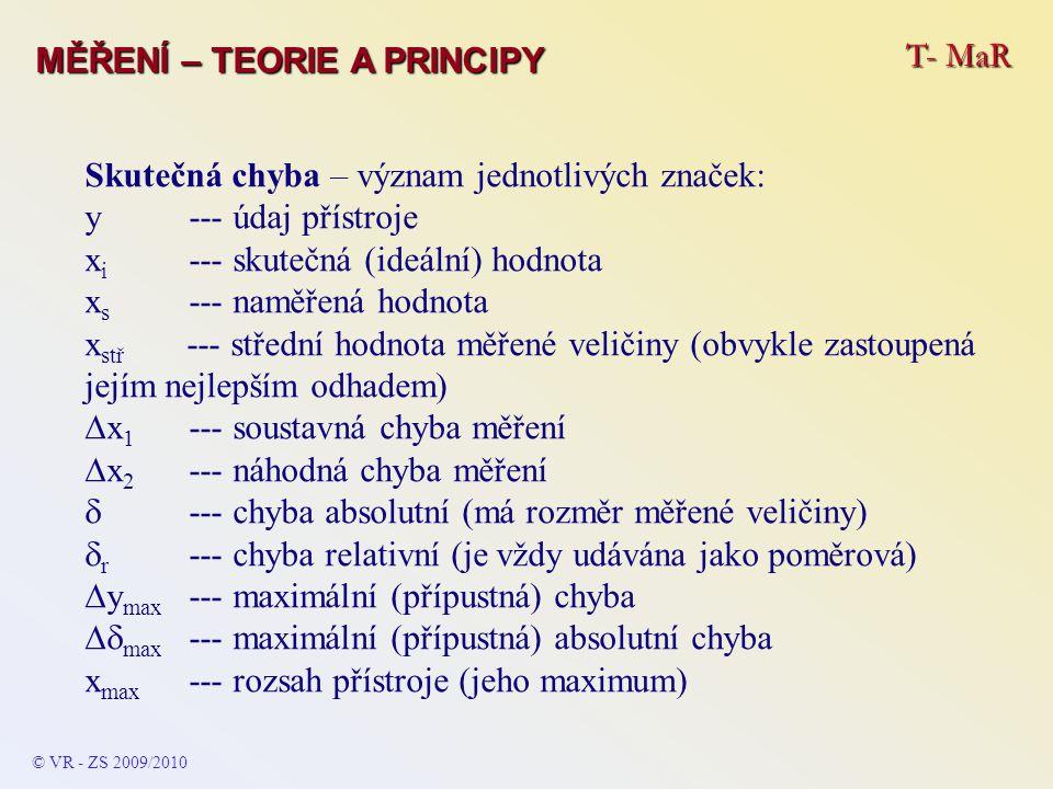 T- MaR MĚŘENÍ – TEORIE A PRINCIPY Skutečná chyba – význam jednotlivých značek: y--- údaj přístroje x i --- skutečná (ideální) hodnota x s --- naměřená