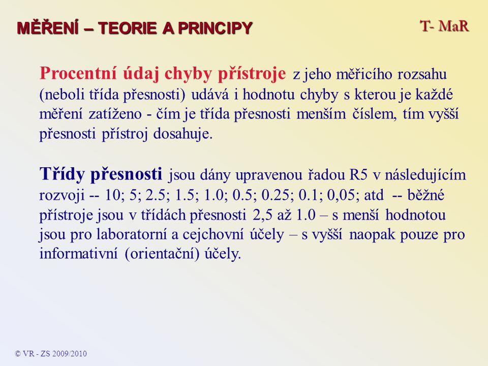 T- MaR MĚŘENÍ – TEORIE A PRINCIPY Procentní údaj chyby přístroje z jeho měřicího rozsahu (neboli třída přesnosti) udává i hodnotu chyby s kterou je ka