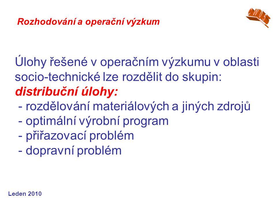 Leden 2010 Úlohy řešené v operačním výzkumu v oblasti socio-technické lze rozdělit do skupin: distribuční úlohy: - rozdělování materiálových a jiných