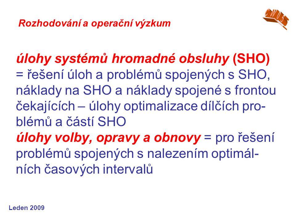 Leden 2009 úlohy systémů hromadné obsluhy (SHO) = řešení úloh a problémů spojených s SHO, náklady na SHO a náklady spojené s frontou čekajících – úloh