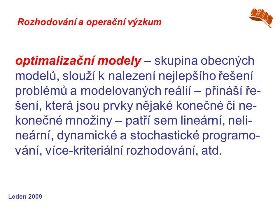 Leden 2009 optimalizační modely – skupina obecných modelů, slouží k nalezení nejlepšího řešení problémů a modelovaných reálií – přináší ře- šení, kter