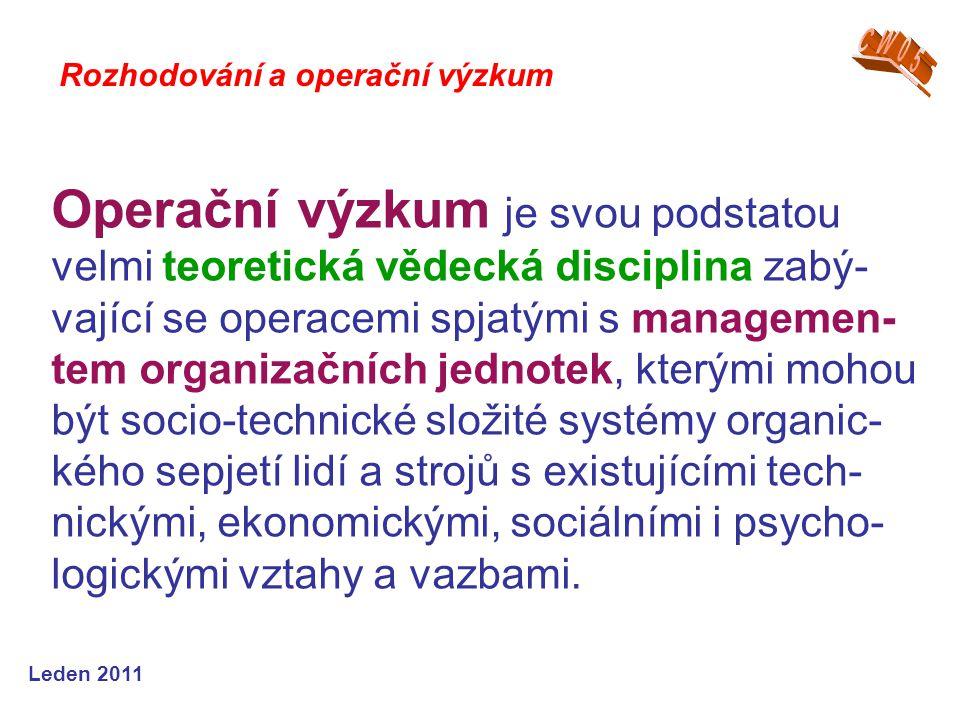 Leden 2011 Operační výzkum je svou podstatou velmi teoretická vědecká disciplina zabý- vající se operacemi spjatými s managemen- tem organizačních jed