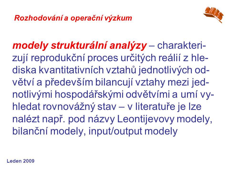 Leden 2009 modely strukturální analýzy – charakteri- zují reprodukční proces určitých reálií z hle- diska kvantitativních vztahů jednotlivých od- větv