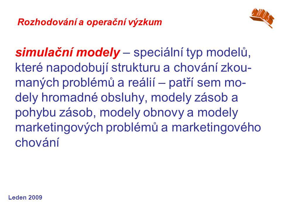 Leden 2009 simulační modely – speciální typ modelů, které napodobují strukturu a chování zkou- maných problémů a reálií – patří sem mo- dely hromadné