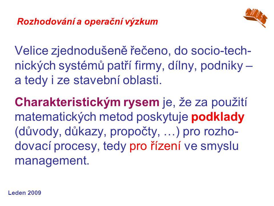 Leden 2009 Velice zjednodušeně řečeno, do socio-tech- nických systémů patří firmy, dílny, podniky – a tedy i ze stavební oblasti. Charakteristickým ry