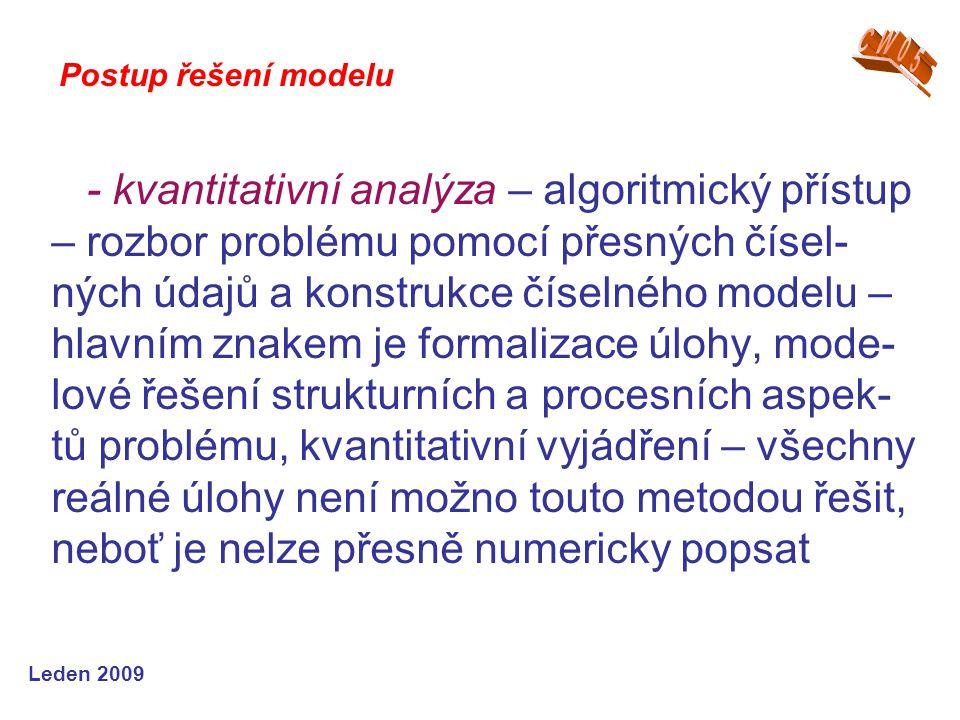 Leden 2009 - kvantitativní analýza – algoritmický přístup – rozbor problému pomocí přesných čísel- ných údajů a konstrukce číselného modelu – hlavním