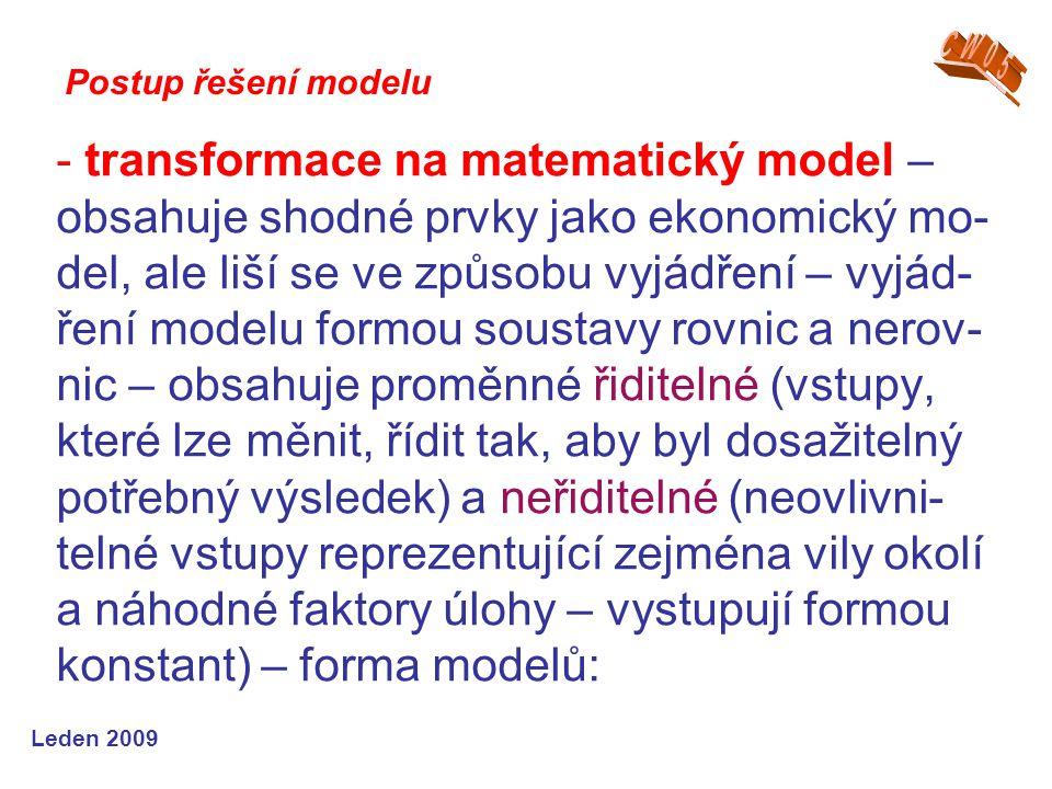 Leden 2009 - transformace na matematický model – obsahuje shodné prvky jako ekonomický mo- del, ale liší se ve způsobu vyjádření – vyjád- ření modelu