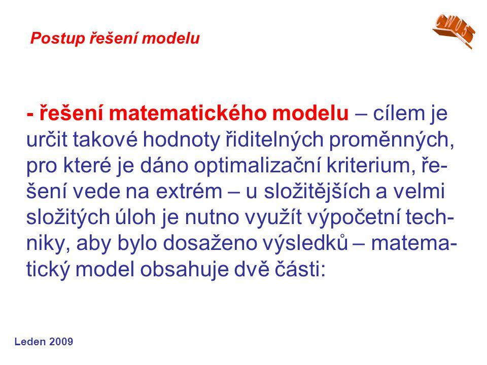 Leden 2009 - řešení matematického modelu – cílem je určit takové hodnoty řiditelných proměnných, pro které je dáno optimalizační kriterium, ře- šení v