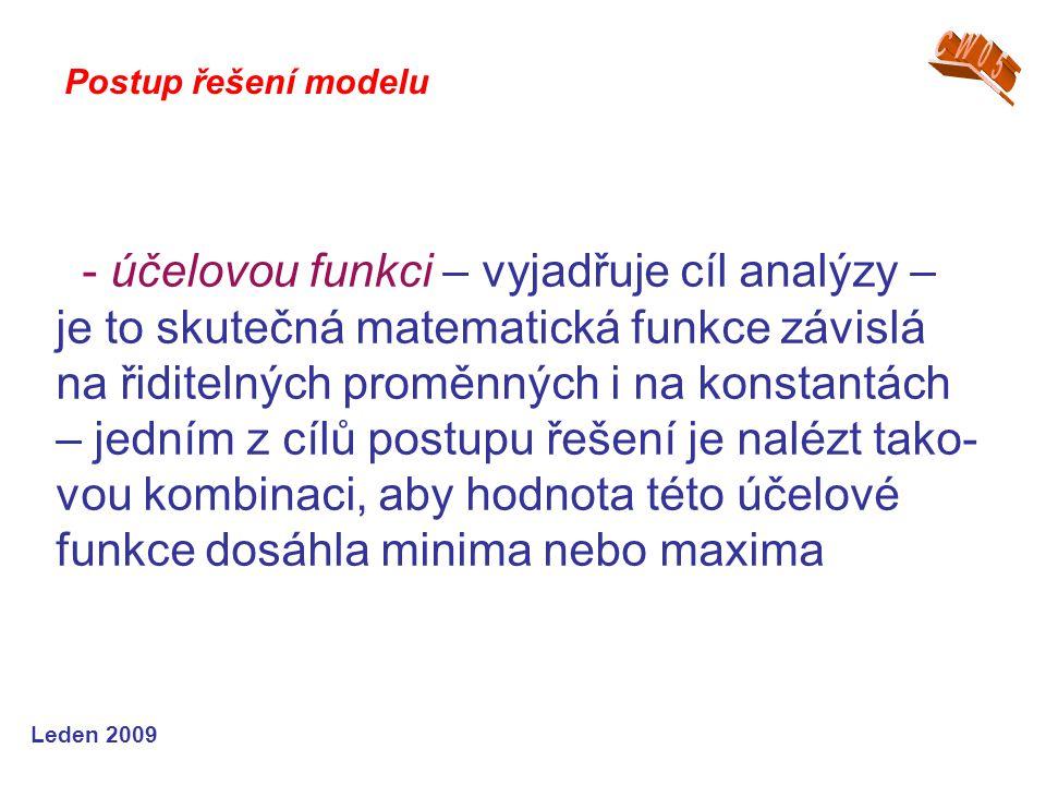 Leden 2009 - účelovou funkci – vyjadřuje cíl analýzy – je to skutečná matematická funkce závislá na řiditelných proměnných i na konstantách – jedním z