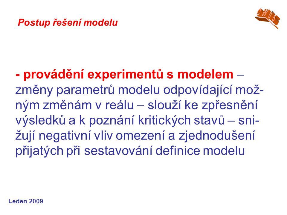 Leden 2009 - provádění experimentů s modelem – změny parametrů modelu odpovídající mož- ným změnám v reálu – slouží ke zpřesnění výsledků a k poznání