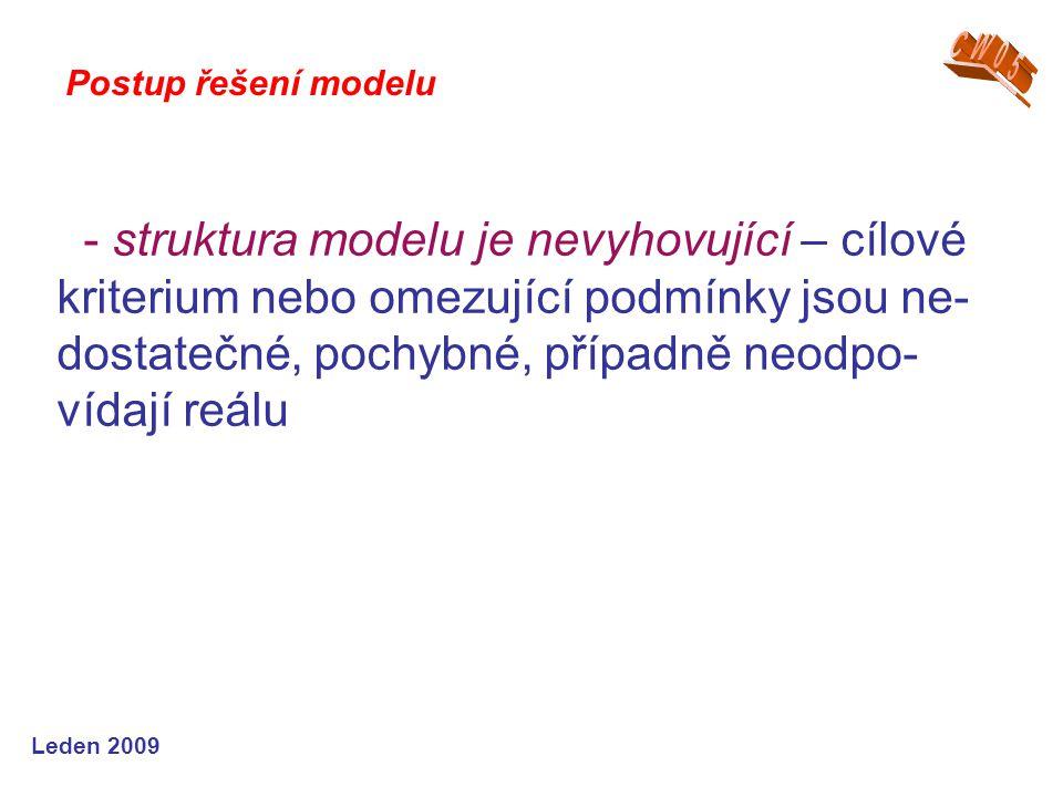 Leden 2009 - struktura modelu je nevyhovující – cílové kriterium nebo omezující podmínky jsou ne- dostatečné, pochybné, případně neodpo- vídají reálu