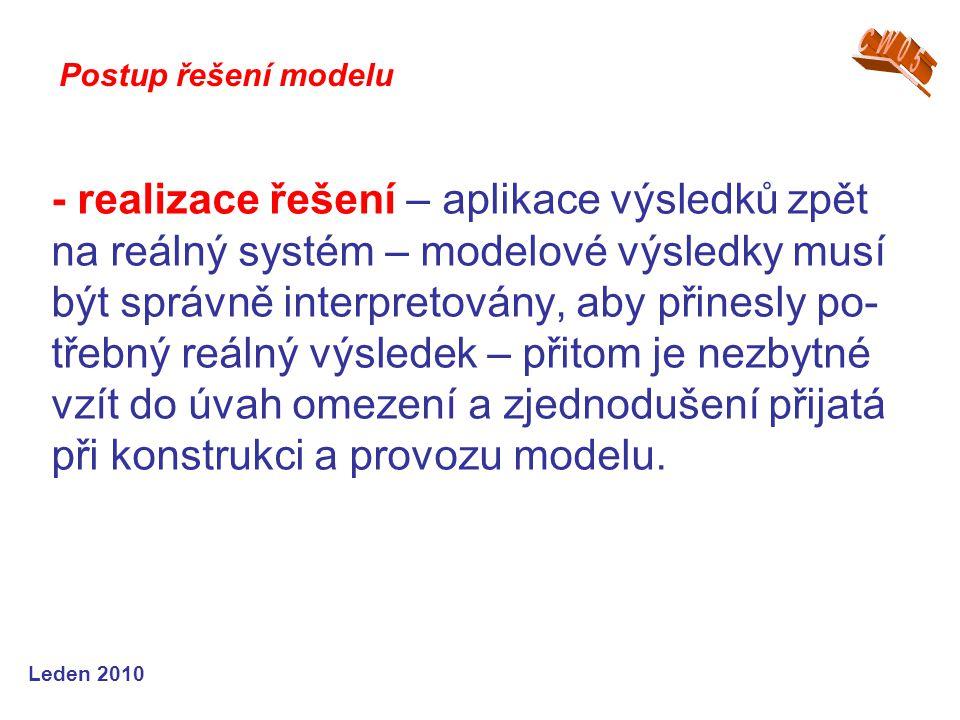 Leden 2010 - realizace řešení – aplikace výsledků zpět na reálný systém – modelové výsledky musí být správně interpretovány, aby přinesly po- třebný r
