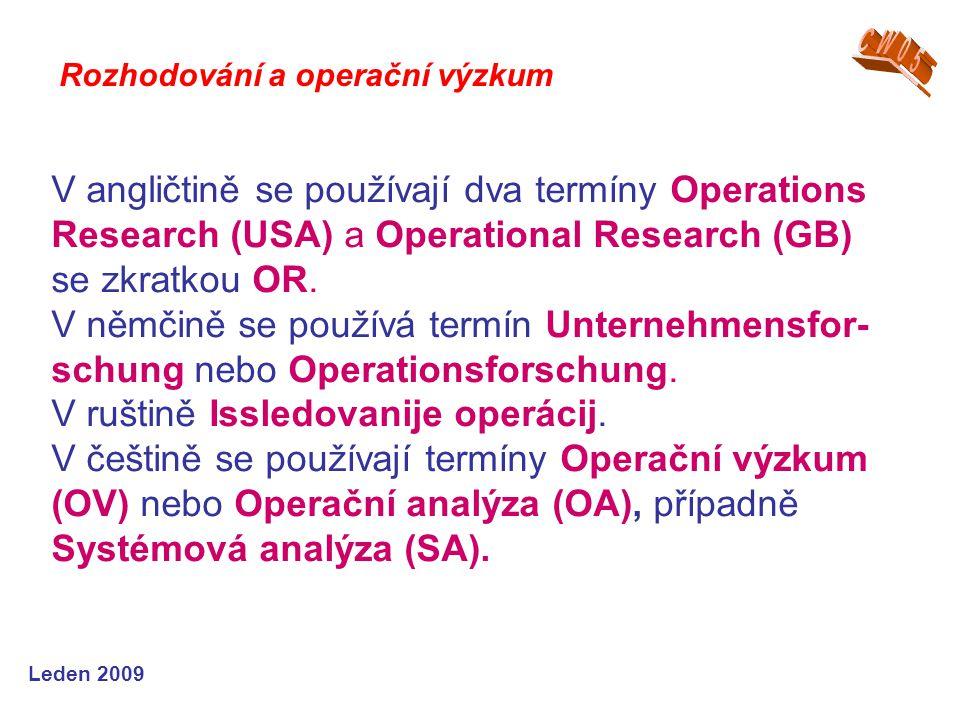 Leden 2009 V angličtině se používají dva termíny Operations Research (USA) a Operational Research (GB) se zkratkou OR. V němčině se používá termín Unt