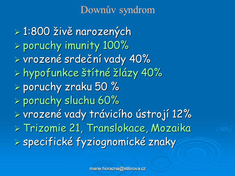 marie.horazna@stibrova.cz Downův syndrom  1:800 živě narozených  poruchy imunity 100%  vrozené srdeční vady 40%  hypofunkce štítné žlázy 40%  poruchy zraku 50 %  poruchy sluchu 60%  vrozené vady trávicího ústrojí 12%  Trizomie 21, Translokace, Mozaika  specifické fyziognomické znaky