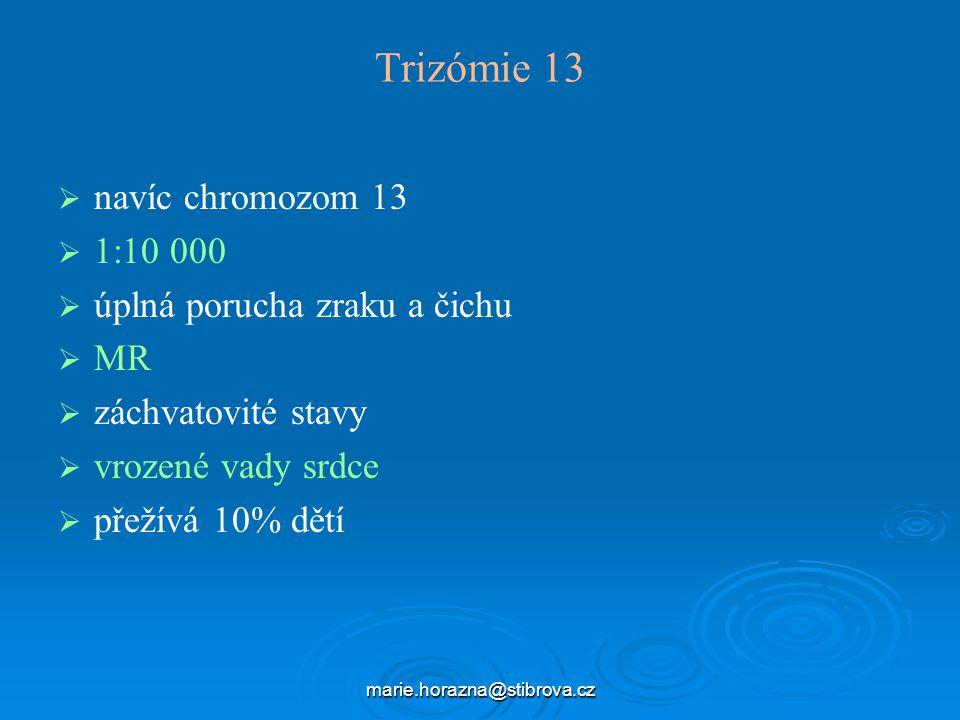 marie.horazna@stibrova.cz Trizómie 13   navíc chromozom 13   1:10 000   úplná porucha zraku a čichu   MR   záchvatovité stavy   vrozené vady srdce   přežívá 10% dětí
