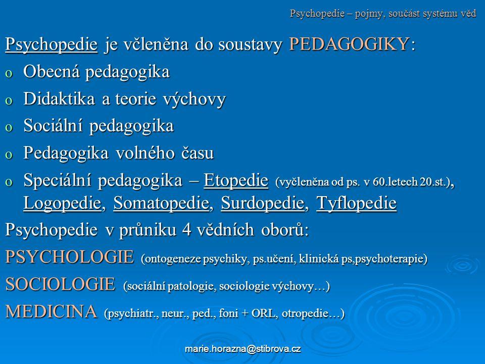 marie.horazna@stibrova.cz Psychopedie – pojmy, součást systému věd Psychopedie je včleněna do soustavy PEDAGOGIKY: o Obecná pedagogika o Didaktika a teorie výchovy o Sociální pedagogika o Pedagogika volného času o Speciální pedagogika – Etopedie (vyčleněna od ps.